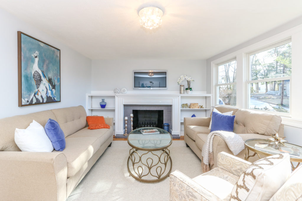 Living room photograph of 8 Dayton Avenue in Westwood MA