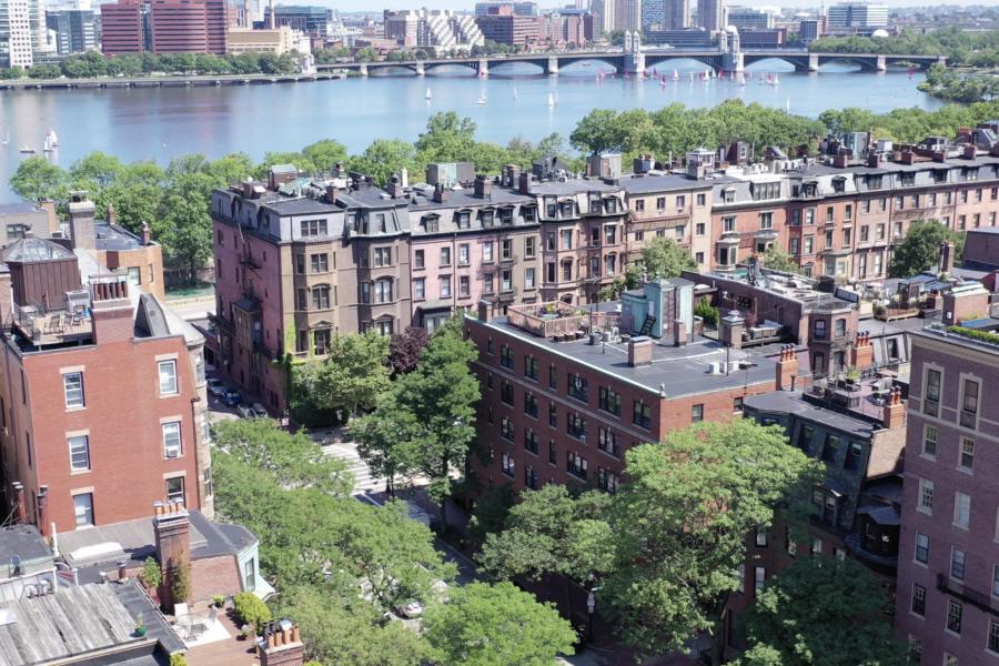 Drone view of 319 Dartmouth Street in Boston Massachusetts