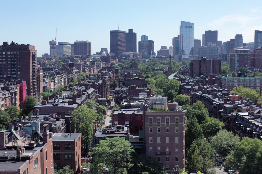Drone view facing front of 319 Dartmouth Street in Boston MA