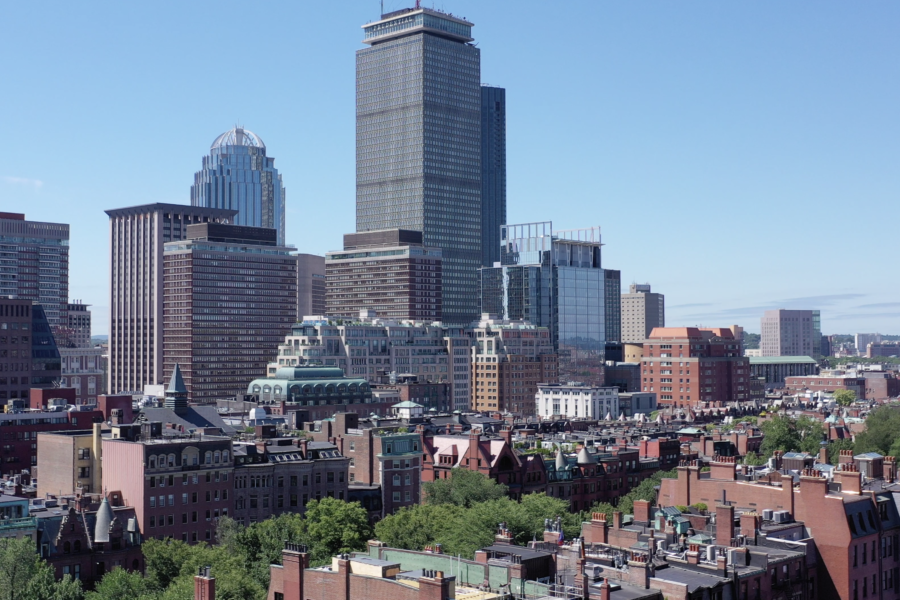 View of Prudential building in Boston from drone